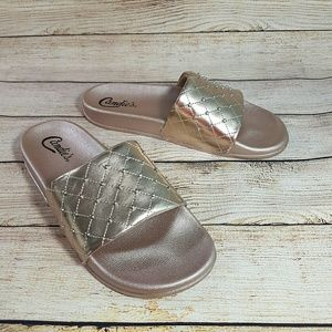 NEW Candie's Slide Sandals Metallic Pink
